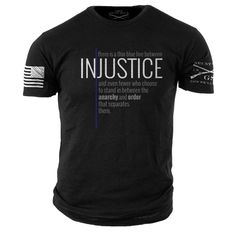 Thin Blue Line T-Shirt- Grunt Style LEO Black Tee Shirt