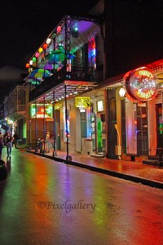 Colorful bourbon st new orleans - Google Search