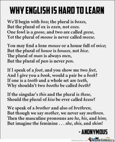 Why English is difficult...love this