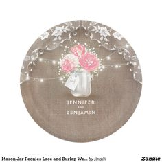 Burlap and Lace Floral Elegant Wedding Paper Plate | Wedding paper plates Wedding paper and Vintage weddings  sc 1 st  Pinterest : burlap and lace paper plates - pezcame.com