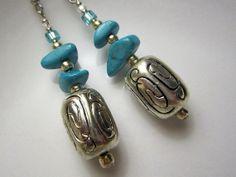 Arizona Tibetan Silver Earrings with Turquoise Beads