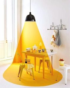 Creative wall painting ideas - Decoration For Home Creative Wall Painting, Creative Walls, Vitrine Design, Wall Design, House Design, Decoration Entree, Yellow Table, Yellow Interior, Wall Decor