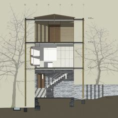 architecture section using patterns and fills - side elevation of a mumbai based NGO staff dormitory