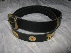 "Alpine Belt Black Leather Gold Accents Cows Size 40-46"" Waist 1½"" Wide #AS30"