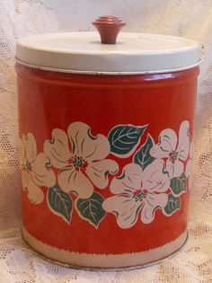 Canister, so pretty with dogwood blossoms