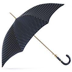 Black Navy Polka Dot Luxury Umbrella (5.975 RUB) ❤ liked on Polyvore featuring men's fashion, men's accessories and men's umbrellas