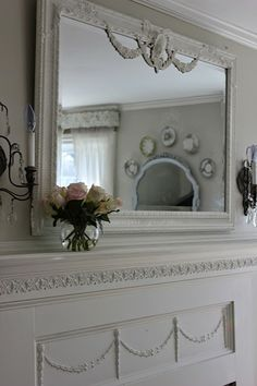 Mirror for master bath? mantle and mirror done by Amy shopmaisondecor.com