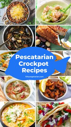 21 Flavorful Pescatarian Crock Pot Recipes Your Whole Family Will Enjoy 21 Pescatarian Crock Pot Recipes - Fishy Vegetarian Pescatarian Diet, Pescatarian Recipes, Vegetarian Recipes, Healthy Recipes, Pescetarian Meals, Clean Eating, Healthy Eating, Slow Cooker Recipes, Cooking Recipes
