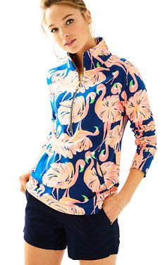 Resort Navy Gimme Some Leg Flamingo Pullover - Lilly Pulitzer