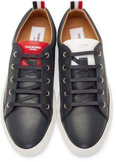 6c9a82d9307d2 Thom Browne Navy Leather Low-Top Sneakers Thom Browne, Men s Footwear, Shoes  Sneakers