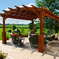 Enjoy relaxing in the open air while still being in partial shade provided by an arched Hearthside Pergola.