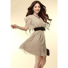 $6.76 Solid Color Scoop Neck Short Sleeves Sweet Style Flounce Edge Chiffon Dress For Women