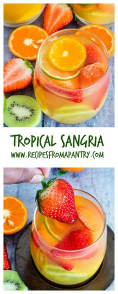 Here is an easy five ingredients tropical sangria recipe made with white wine, pineapple juice, passionfruit juice, dark rum and tropical fruits. | www.recipesfromapantry.com #sangria #tropicalsangria #whitewinesangria
