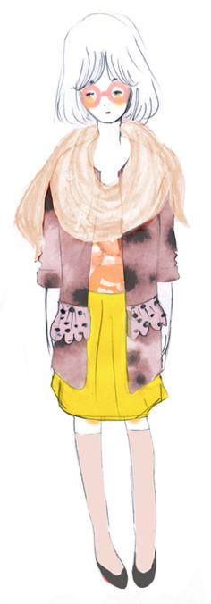 sketch for new studio nono products. yellow skirt! pastel rose stockings!