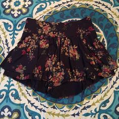 Floral Shorts Navy blue with multicolored floral print shorts from Express. Good condition, worn once.  trades ✨ open to offers! Express Shorts