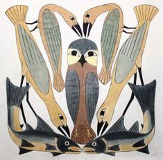 Owl at the Centre by Kenojuak, regarded as the world's most notable Inuit artist, Kenojuak Ashevak's animal-centric prints have been integral to the prestigious Cape Dorset print collection since 1960 | Nunavut Gallery