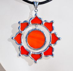 Stained Glass Projects, Stained Glass Art, Mosaic Glass, Fused Glass, Lotus Necklace, Glass Necklace, Glass Jewelry, Unusual Jewelry, Modern Jewelry