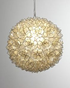 "24"" dia 690 Capiz-Shell Pendant Light by Robles Heritage at Neiman Marcus."