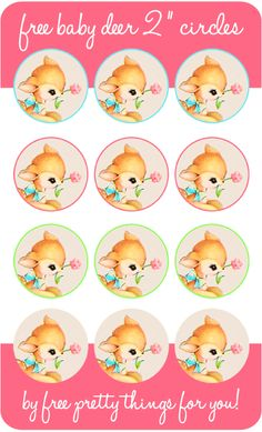 Baby Deer 2 inch Circles - Free Pretty Things For You