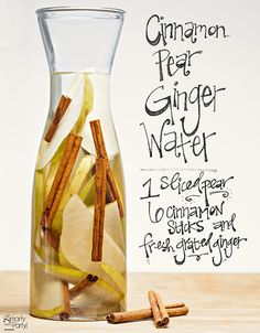 Cinnamon Pear Ginger Infused Water is the ultimate low-cal mocktail and so delicious for fall | Smarty Had a Party