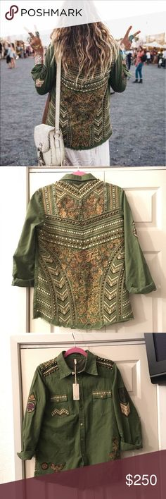 Spell And The Gypsy Embellished Army Jacket Small Spell & The Gypsy Embellished Army Jacket size Small. This is such a beautiful jacket full of endless possibilities to wear with multi Spell items!! I love it but it's a little small for me, wore once for a couple hours. Still have tag, it's very beautiful!! Spell & The Gypsy Collective Jackets & Coats Jean Jackets