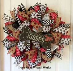 Beware of Dog Kisses Wreath by DecoMeshWreathWorks on Etsy Dog Wreath, Frame Wreath, Burlap Wreath, Paper Mesh, Red Paper, Front Yard Decor, Chevron Ribbon, Wreaths For Sale, Beware Of Dog