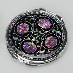 Mother of Pearl Purse Mirror with Arabesque Design