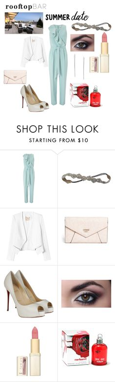 """""""business date"""" by ivelletjei ❤ liked on Polyvore featuring Miss Selfridge, Deepa Gurnani, Rebecca Taylor, GUESS, Christian Louboutin, L'Oréal Paris, Cacharel, Lulu*s, summerdate and rooftopbar"""
