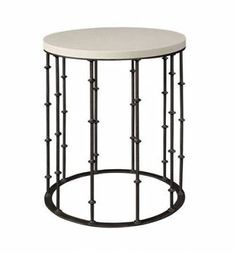 Amalfi Limestone and Wrought Iron Side Table Also Available in Wood Top No Additional Base Finish or Stone Options Also Available As