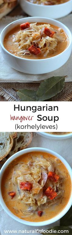 Hangover Soup Recipe - This Hungarian Hangover Soup promises to bring you luck in the new year and cure your hangover! Real Food Recipes, Soup Recipes, Healthy Recipes, Healthy Meals, Eating Healthy, Bread Recipes, Croatian Recipes, Hungarian Recipes, Hangover Soup