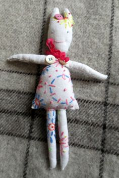 Sweet Rabbity Girl doll. All handstitched, vintage fabrics, ready for Christmas! On Etsy shop Printcaravan.