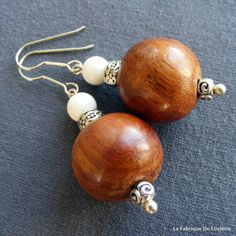 Boucles d'Oreilles Nature Bois et Corail Blanc