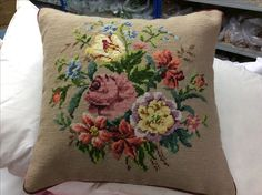 Vintage floral tapestry made into a cushion in our Somerset workshop.