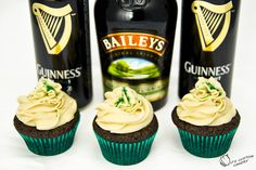 Guinness Chocolate Cupcakes with Bailey's Buttercream (go here for list of ingredients, then go to video to see how to make)