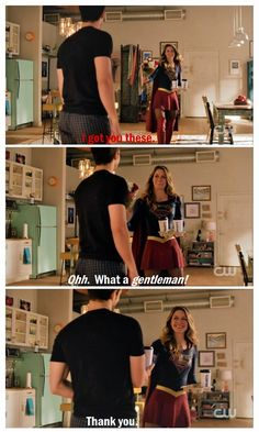 "One of my absolute favorite (funny) Kara/Mon-El moments so far. THIS is how you subvert tropes, guys. I can't express how much I love that Mon-El doesn't care that he's just been designated ""the woman,"" and that Kara isn't offended by ""gentleman."" These two are great <3 