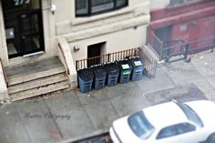 Looking out the window at mini trash cans?