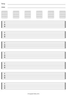 Music Staff Paper Template Free Guitar Blank Tab Ready To Print PDF And Image