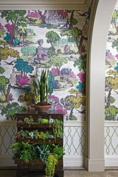 Cole & Son 'Versailles Grand' wallpaper in Pink and Chartreuse.