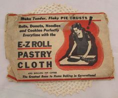 Vintage E-Z Roll Pastry Cloth with Rolling Pin by PuppyLuckArt