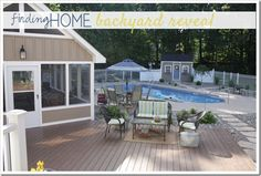 Our Backyard Reveal!!  Great ideas for outdoor entertaining, pools, and enjoying your outdoor space!  www.findinghomeonline.com