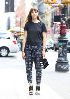 Street style: Cool pants prove that plaid will be huge for fall