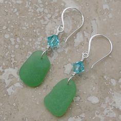 Mariners Dream Earrings With Kelly Green Sea Glass From The Caribbean | Out Of The Blue Sea Glass Jewelry
