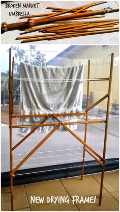 Repurpose: a deceased market umbrella becomes a beautifully made, very useful drying frame!