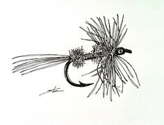 Fly Fishing Flies - ink drawing - quick sketch #1 - Day 213