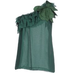 Hanita Top ($55) ❤ liked on Polyvore featuring tops, green, green top, flutter-sleeve top, hanita, frilly tops and green ruffle top