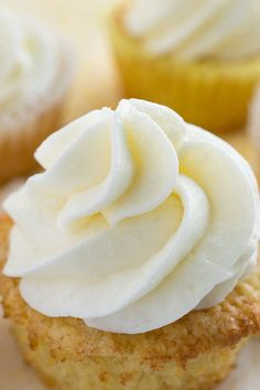 """""""There's nothing better than this recipe for Whipped Coconut Buttercream Frosting. Made completely from scratch, this simple recipe is perfect slathered on cakes, cupcakes, or right from the spoon. Coconut Buttercream Frosting Recipe, Cupcake Frosting Recipes, Icing Frosting, Icing Recipe, Cupcake Cakes, Cupcake Icing, Vanilla Buttercream, Muffins, Baking Recipes"""