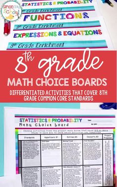 These 8th grade math common core resources are a great way to provide student choice while addressing important middle school math standards. It includes 8th grade math projects that can be used for distance learning, or while teaching math in your 8th grade classroom.#middleschoolmath #8thgradecommoncore #commoncoremath #commoncoreresources #mathresources