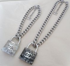 CHANEL 2014 LARGE Padlock REMOVABLE Lock BLACK Pearls CC Chain Necklace NWT #Chanel #Chain