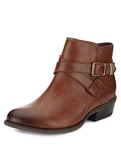 Buy the Leather Wide Fit Ankle Boots from Marks and Spencer's range. Tan Leather Ankle Boots, Parisian Chic, Shoe Boots, Shoes, Booty, Fitness, Fashion Ideas, Women, Handbags