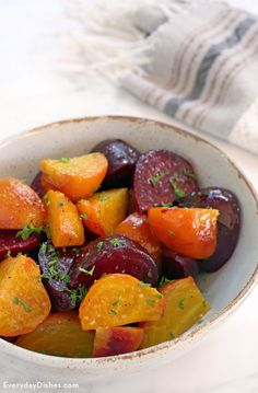 Put a pop of color on the table with our hearty and vibrant-tasting roasted beets recipe. they're easy enough to prepare on a weeknight, but also make for a Beet Recipes, Vegetable Recipes, Real Food Recipes, Vegetarian Recipes, Cooking Recipes, Healthy Recipes, Roast Recipes, Fall Recipes, Yummy Recipes